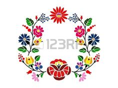Hungarian Embroidery Patterns A beautiful hungarian Kalocsai floral pattern. Hungarian Embroidery, Folk Embroidery, Learn Embroidery, Chain Stitch Embroidery, Embroidery Stitches, Machine Embroidery, Stencil, Bordado Popular, Embroidery Designs