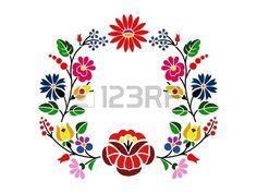 Un beau motif floral Kalocsai hongrois Banque d'images