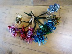Foil Christmas Package Ties, Mercury Glass Bead, Foil Flowers, 50s, 60s, unused NOS,  lot of 9, Glass, Foil by OurVintageHouse on Etsy