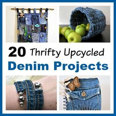 20 Thrifty Upcycled Denim Projects- Give your old jeans and denim clothes new uses with these thrifty upcycled denim projects! Many of these crafts would make great DIY gifts! | ways to use old jeans, how to use up old jeans, DIY project ideas, handmade gift, homemade gift, sewing project, easy sewing, beginner sewing, repurpose, recycle, reuse, upcycle, upcycling