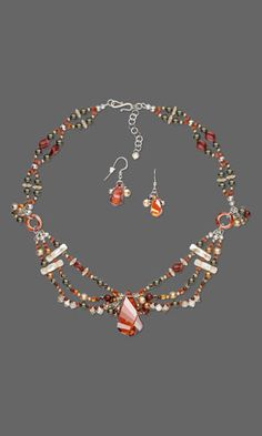 Triple-Strand Necklace and Earring Set with SWAROVSKI ELEMENTS and Sterling Silver Beads