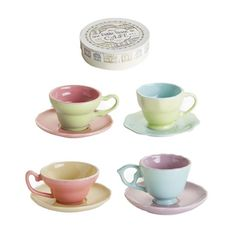 ~~pretty colors~~~Tasse De Café Espresso Cup & Saucer's