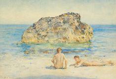 The Sunbathers - Henry Scott Tuke, 1921 British, pencil and watercolour on paper x 14 in. x cm. Male Body Art, Mermaid Boy, Queer Art, Detail Art, Gay Art, Pretty Art, Art Day, Art History, Art Gallery