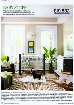 """This lovely nursery combines contemporary elements that both modern and traditional parents would be comfortable with. A """"win"""" on the designer's part for creating a classic contemporary vibe in this beautiful room (just look at those window mouldings!)"""