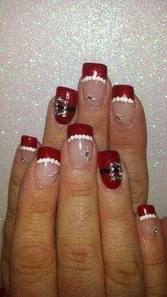 Red-White-Acrylic-Nails-Nail-Art-Xmas-Salon-Gel-Nails-Polish-LED-Polish-LED-Nails-Artificial-Nails-custom-gel-glitz-mix-golden-French-manicure-pedicure-xmas-design-merry-christmas