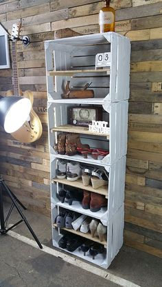 Home Decor Spectacular Diy Shoe Storage Ideas For Best Home Organization To Try Ultimate Closet Diy Shoe Storage, Storage Ideas, Crate Storage, Wall Storage, Diy Casa, Wooden Crates, Wood Crate Shelves, Wooden Pallet Beds, Pallet Wood