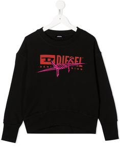 $109.0. DIESEL Top Long-Sleeved Logo Print Jumper #diesel #top #cotton #clothing Black Diesel, Black Cotton, Jumper, Cuffs, Women Wear, Logos, Sweatshirts, Long Sleeve, Logo