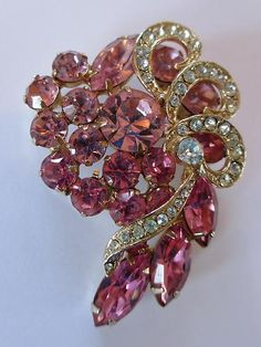 Vintage WEISS Pink Rhinestone Floral Bouquet Diamante Ribbon Bow Pin Brooch