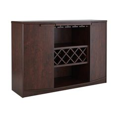Wade Logan® Isabell Bar with Wine Storage & Reviews | Wayfair Wine Bar Cabinet, Wine Cabinets, Wine Storage, Locker Storage, Kitchen Colors, Kitchen Decor, Space Kitchen, Kitchen Tips, Kitchen Dining