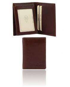 TL140764 Exclusive vertical 3 fold leather wallet for men - Esclusivo portafoglio verticale uomo in pelle 3 ante