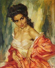 Charles Roka 1912-1999 | Hungarian-born Norwegian painter | Vintage portrait