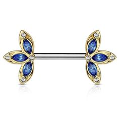 Blue CZ Petal Flower Nipple Barbell, Crystal Flower Nipple Ring