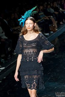 Crochet dress on a runway