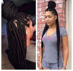All styles of box braids to sublimate her hair afro On long box braids, everything is allowed! For fans of all kinds of buns, Afro braids in XXL bun bun work as well as the low glamorous bun Zoe Kravitz. Box Braids Hairstyles, African Hairstyles, Protective Hairstyles, Edgy Hairstyles, Dreadlock Hairstyles, Hair Updo, Black Power, Large Box Braids, Jumbo Braids