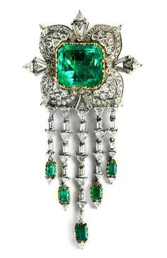 Columbian emerald and diamond brooch by Van Cleef