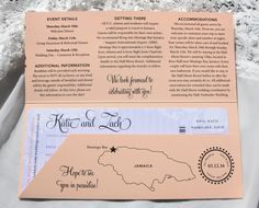 Peach & Periwinkle Vintage Lace & Stripes Boarding Pass Save-the-Dates