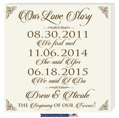 Special date to remember Important dates sign,Our Love Story Established Family Dates,When we met,Personalized We said I do wedding gift by DaySpringMilestones on Etsy Important Dates Sign, Wedding Couples, Wedding Ideas, Wedding Gifts For Parents, 1st Wedding Anniversary, Engagement Gifts, Love Story, Personalized Gifts, Dating