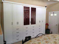 Bedroom sets with armoire for your best night with eye catching white wooden large wardrobe closet with many drawers as well as glass lite door as decorate queen Bedroom Closet Design, Bedroom Wardrobe, Wardrobe Closet, Wardrobe Design, Built In Wardrobe, Closet Designs, Bedroom Storage, Closet Doors, Narrow Wardrobe
