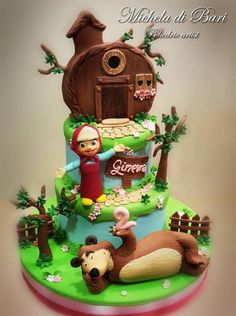 Masha and the bear cake by Michela di Bari Masha And The Bear, Bear Cakes, Creative Cakes, Cake Designs, Kids Bedroom, Fondant, Cake Decorating, Food And Drink, Cake Photos