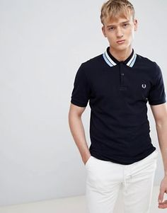 fbb839bd Fred Perry bold tipped pique polo in navy Polo Ralph Lauren, Fred Perry  Polo Shirts