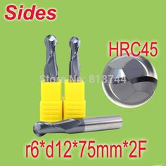 Free Shipping  r6*d12*75mm*2F  HRC45  Tungsten Carbide Sphere  End Mill 2F Ballnose Endmill Cutter