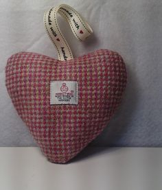 Pink Harris Tweed Heart Shaped Lavender Scented Pillow £8.00