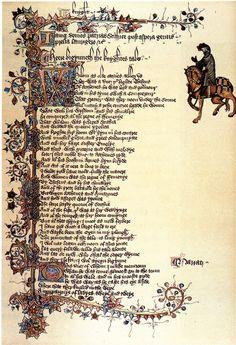 Illuminated border   Page from the Ellesmere manuscript.Huntington Library, California.