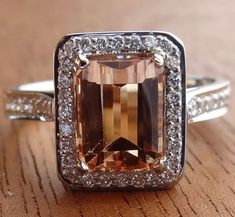 Internally Flawless Natural Peach Color Imperial Topaz / Diamond Halo Ring 18k White Gold
