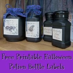 Free sheet of Halloween themed potion bottle labels printable for apothecary cabinets and witch decor