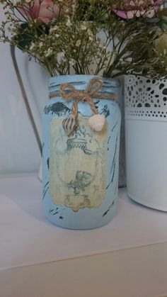 Vintage Shabby Chic Upcycled Glass Jar.