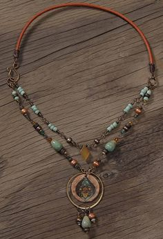 English Garden Necklace: Hand made resin pendant wire wrapped