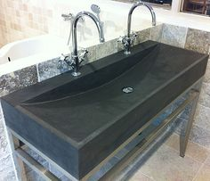 #Bathroom #Belgium Black Basalt #Sinks By Ancient Surfaces  For more information   Call us at: 212-461-0245 // 212-913-9588 Sales@AncientSurfaces.com