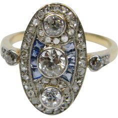 Belle epoque diamond and sapphire panel ring @rubylanecom #diamonds #rubylane