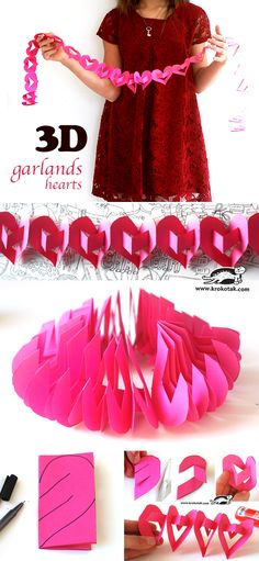 3D garlands-hearts