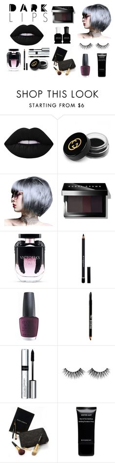 """""""Dark temptation"""" by catherine-alex on Polyvore featuring косметика, Lime Crime, Gucci, Bobbi Brown Cosmetics, Victoria's Secret, Givenchy, OPI, Lord & Taylor, By Terry и Dolce&Gabbana"""