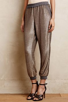 ZANFUL -Sequins Elastic Waist Pants