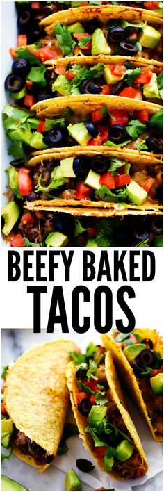 Beefy Baked Tacos are ready for the dinner table in under 30 minutes! They are layered with refried beans, a black bean taco seasoned ground beef and topped with melty cheese. Load them up with all of your favorite toppings and your family will devour them!