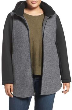 Halogen Colorblock Wool Blend Jacket (Plus Size)