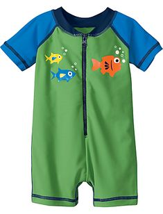 Insanely adorable baby swimsuit. Hanna Andersson Swimmy Rash Guard Suit - $28.