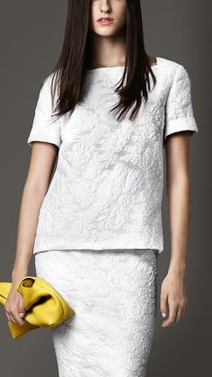 I love white clothing with fun textures. (Burberry | London Fil Coupé Cotton Silk Top)