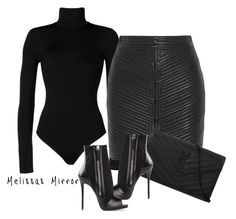 """'ALL BLACK EVERYTHING' by Melissa's Mirror"" by melissas-mirror ❤ liked on Polyvore featuring Wolford, Balmain, Yves Saint Laurent and Giuseppe Zanotti"