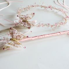 Light Pink, Cream and Gold Rennaisance Fairy Butterfly Crown and Wand