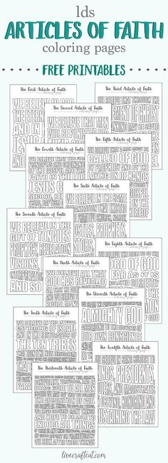 free printable lds articles of faith coloring pages