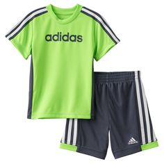 Baby Boy Adidas Graphic Striped Tee & Striped Shorts Set, Size: 24 Months, Brt Green
