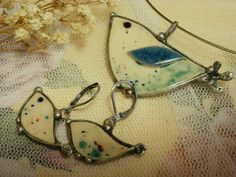 Ceramic Handmade Jewelry Set  Pendant and Earrings by NellanyArt