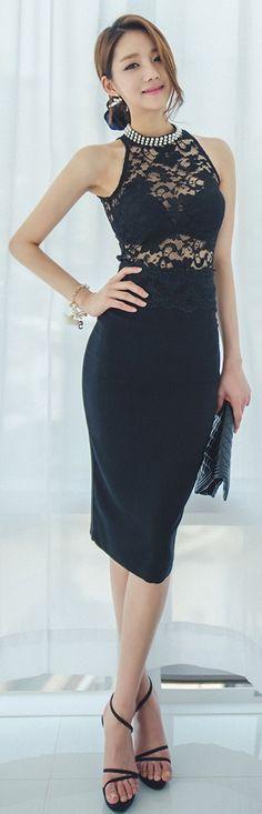 Luxe Asian Women Design Korean Model Fashion Style Lace Pearl Black Top