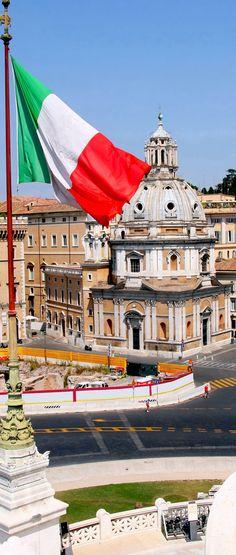 View of panorama Rome, Italy, skyline from Vittorio Emanuele, Piazza Venezia