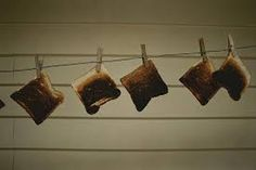 Photographic Print: Burnt Toast Hanging on Clothesline Poster by Todd Gipstein :