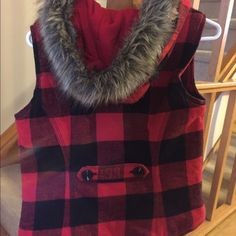 Selling this Lumberjack style vest with fur hood in my Poshmark closet! My username is: sararainbow. #shopmycloset #poshmark #fashion #shopping #style #forsale #Mossimo Supply Co #Jackets