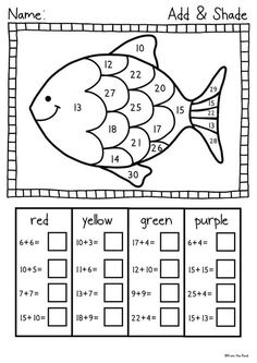 Summer Reach for the Beach - Fun Printables Pack This is a collection of 21 fun . Kindergarten Math Worksheets, Teaching Math, Math Activities, Grade 1 Worksheets, Worksheets For Preschoolers, Rainbow Fish Activities, Math Coloring Worksheets, Free Worksheets For Kids, Free Printable Math Worksheets
